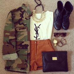 love high waisted shorts, especially these brown ones with the camo cardigan <3 and boots <3 <3
