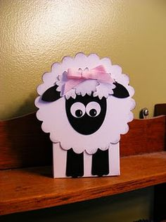 And here is the three Easter boxes. Today I will do the tutorial for the lamb. Here is the little lamb, I added eyelids at the end, but fo. Cardboard Crafts, Paper Crafts, Cute Lamb, Origami, Birthday Charts, Farm Animal Birthday, Eid Cards, Punch Art Cards, Camping Crafts