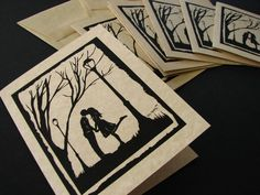 Autumn Kiss - set of 6 note cards. $10.00, via Etsy.