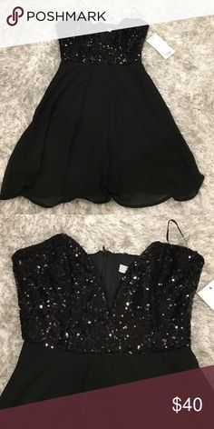 Black sequin mini party dress size small Brand new with tags Tobi size small sequins strapless mini dress. Zips in back Tobi Dresses Strapless