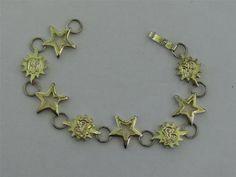 Sterling Silver Sunshine Sun Star Link Bracelet | eBay