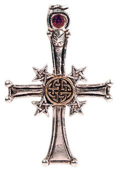 """A powerful synthesis of Christian and Pagan symbols interwoven around the everlasting Celtic Knot of Life, forming a powerful magickal amulet for Protection. Approximate Size: 2"""" x 1⅜"""""""