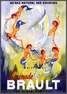 Brault Limonade Mermaids - 1930 French Vintage Poster Art Print  Retro Advert…