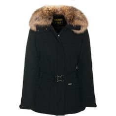 Woolrich W´S Glacier Jacket Black Down Jacket With Furred Hood ($850) ❤ liked on Polyvore