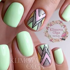 Beautiful summer nails, Foil nail art, Geometric nails, Ideas for short nails… - #accentnails #accent #nails