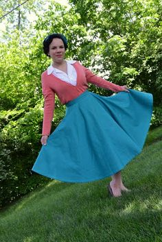 Teal 1950s style circle skirt