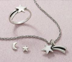 Small Shooting Star Ring, Shooting Star Charm (chain sold separately) and Starry Night Ear Posts #JamesAvery