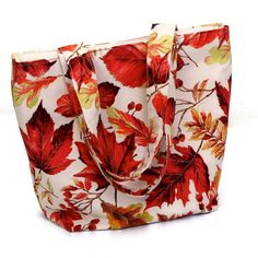 Adult tote bag/purse, magnetic snap closure, red autumn leaves on cream background - pinned by pin4etsy.com