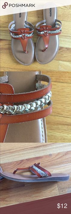 Brown slides with silver braid decorative strap Pretty sandals only worn three times but need to make room in the closet! Sonoma Shoes Sandals