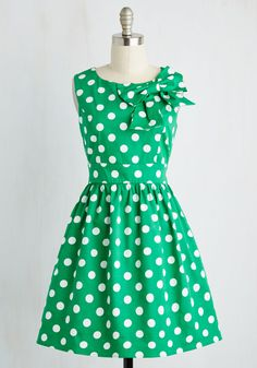 The Pennsylvania Polka Dress in Shamrock Dots - Green, White, Polka Dots, Print, Daytime Party, Vintage Inspired, 40s, Fit & Flare, Sleeveless, Spring, Woven, Better