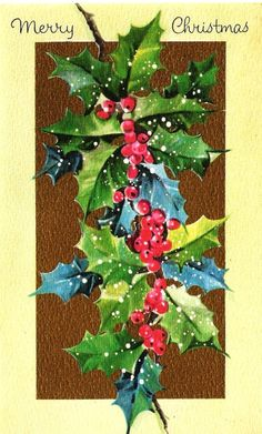 I  like the turquoise colored holly. Would really look neat on a card.