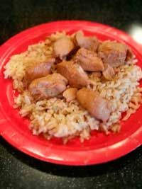 SWEET HAWAIIAN CROCK-POT CHICKEN Sweet Hawaiian Crock Pot Chicken  2 lb Chicken tenderloin chunks 1 cup pineapple juice ½ cup brown sugar 1/3 cup soy sauce Combine all together, cook on low in Crock-pot 6-8 hours. Serve with brown rice.
