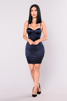 Available In Magenta and Navy Stretch Satin Mini Dress Padded Cups Adjustable Straps Zipper Back 94% Polyester 6% Spandex