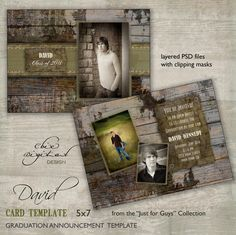 Graduation Announcement Card Template for photographers - Just for Guys - 5x7 Open House Invitation  - DAVID