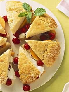 peach melba-sour cream shortcake wedges (with peaches & berries of your choice ~ blueberries and raspberries are both great options)