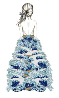 """The Great Wave dress (two items)"" by annacullart ❤ liked on Polyvore featuring art and artdress"