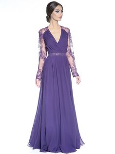 Badgley Mischka- Long sleeve Lace Evening Gown Long Sleeve Evening Gowns 60abc3c71