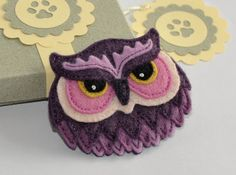 Felt Owl Brooch / Pin - Hand Stitched from Wool Felt - in Handmade Gift Box