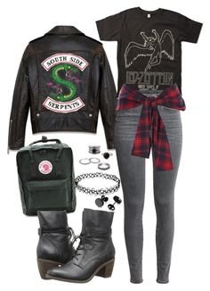 """""""South Side Serpent ;; Riverdale"""" by demiwitch-of-mischief ❤ liked on Polyvore featuring Fjällräven, Steve Madden and River Island"""