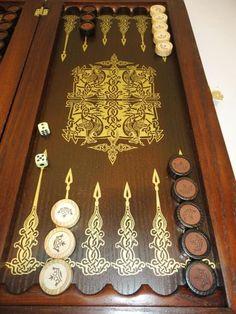 21″ Golden Eagle Russian Luxury Backgammon Set. Leather Pieces. Tournament Board