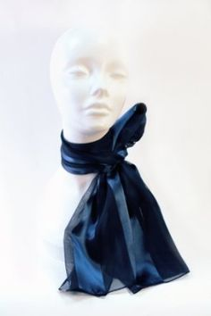 Satin Scarf Navy Blue Mr. Song Millinery. $7.50