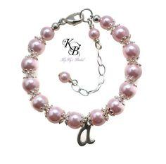 Personalized Flowergirl Bracelet, Flower Girl Jewelry, Flowergirl Gift, Personalized Jewelry, Little Girl Bracelet, Gift for Flowergirls | KyKy's Bridal, Handmade Bridal Jewelry, Wedding Jewelry