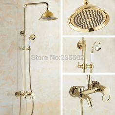 Gold Color Brass Bathroom Shower Rainfall Style Faucet Set Single Handle Mixer Tap with Ceramic Handheld Shower Spray lgf413 #Affiliate