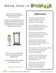 """... : Nonsense Words, using the poem """"Jabberwocky"""" by Lewis Carroll. More"""