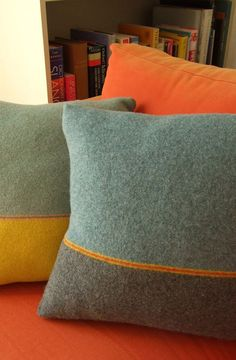 Interiors : C2 blue and grey cushion with stripe