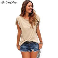 New Trendy Summer Fashion T Shirts Women Short Sleeve O-Neck Slim Casual Tassel XXL Top Solid Camisetas Feminina T-Shirts Female