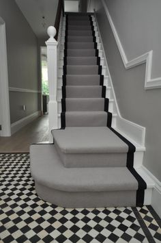 wool stair runners Bowloom wool carpet, fitted stair runners with binding tape Bowloom wool carpet, fitted stair runners with binding tape from Bowloom Carpets Carpet Staircase, Staircase Runner, Stair Runners, Hallway Carpet, Carpet Runner On Stairs, Entrance Hall Decor, Victorian Hallway, Tiled Hallway, Grey Hallway