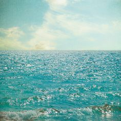 Ocean photography beach vacation azure blue surf by bomobob, $30.00
