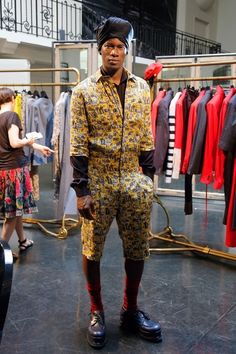 This black turban and yellow printed jumpsuit. | The 29 Hands Down Most Ridiculous New Outfits For Men
