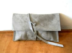 Grey leather clutch.  Perfect.