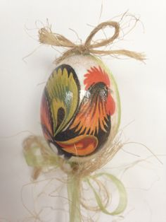 Decoupaged egg Rustic looking rooster