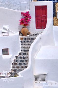 Bougainvillea & the Red Door   Oia, Santorini   Greece