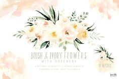 Blush & Ivory Flowers with Greenery by Kim Thoa Designs on @creativemarket