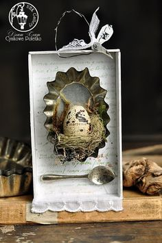 🌟Tante S!fr@ loves this📌🌟cynkowe poletko: mini shadow box Spring Projects, Spring Crafts, Holiday Crafts, Craft Projects, Bird Nest Craft, Bird Crafts, Easter Crafts, Handmade Crafts, Diy And Crafts