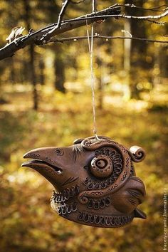 Керамический колокольчик «Ворон» - коричневый,колокольчик,глиняный колокол