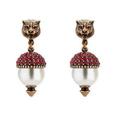 Gucci Feline Earrings With Crystals (10.248.305 VND) ❤ liked on Polyvore featuring jewelry, earrings, gold, white pearl drop earrings, emerald green earrings, swarovski crystal jewelry, pearl earrings and gucci jewelry