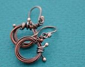 Wrapped and Oxidized Copper and Silver Bud Earrings
