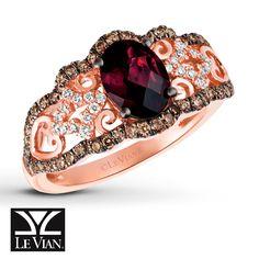 Le Vian Chocolatier® Raspberry Rhodolite® Garnet Ring, 3/8 ct tw Vanilla Diamonds® and Chocolate Diamonds® in 14K Strawberry Gold®