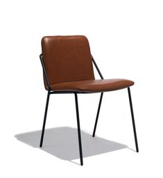 furniture, the Leather Sling Chair is stackable and 100 percent leather upholstered with epoxy coated steel legs. A fresh, innovative design, the Sling chair was developed without compromise. Painted Dining Chairs, Blue Velvet Dining Chairs, Industrial Dining Chairs, Metal Chairs, Dining Furniture, Office Furniture, Eames Chairs, Upholstered Chairs, Chair Cushions
