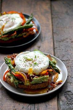 Breakfast avocado toast with veggies.