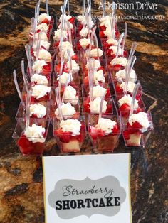 Adorable individual bites of strawberry shortcake. Made with Sara Lee Pound Cake, macerated strawberries and a dollop of whipped cream. Fun alternative to a traditional birthday cake by http://www.atkinsondrive.com