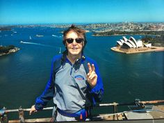 """December 13, 2017 Paul McCartney on Twitter: """"Up on Sydney Harbour Bridge! Last day in Oz. Had a great time. Thanks! """""""