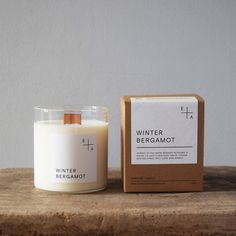 This beautiful Winter Bergamot candle by Essence + Alchemy is natural and hand-poured in a British made hand-blown glass with a wooden wick, which when lit will crackle and glow, giving out a warm and relaxing atmosphere Candle Branding, Candle Packaging, Candle Labels, Handmade Candles, Diy Candles, Scented Candles, Candle Box, Candle Jars, Glass Candle
