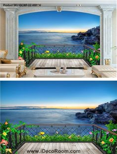 Beautiful seascape Wallpaper - Wallpaper World Beach Wallpaper, Cool Wallpaper, Beach Wall Murals, Wall Art, Living Style, Corporate Office Design, Patio Wall, Fence Art, Mediterranean Style