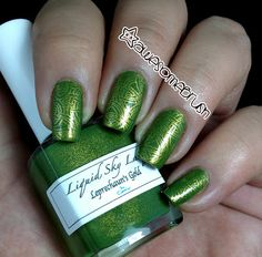 awesomebrush: Liquid Sky Lacquer Swatches - Beach Boardwalk, Glass Slippers and Leprechaun's Gold + Stamping