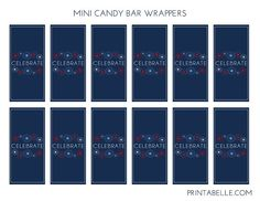 Free patriotic mini candy bar wrappers! #freeprintables #memorialday #july4th